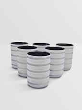 White Stainless Steel Glass Set Of 6 Pieces - By