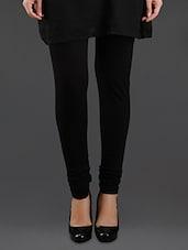 Elastic Waist Black Cotton Leggings - By