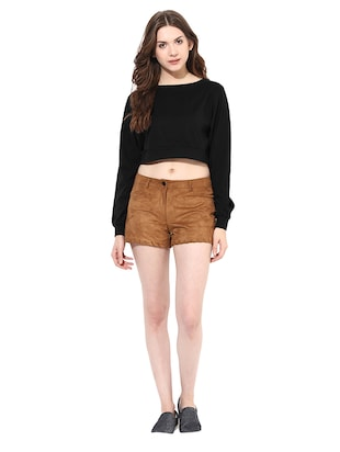 long sleeved boat neck crop top - 11013031 - Standard Image - 4