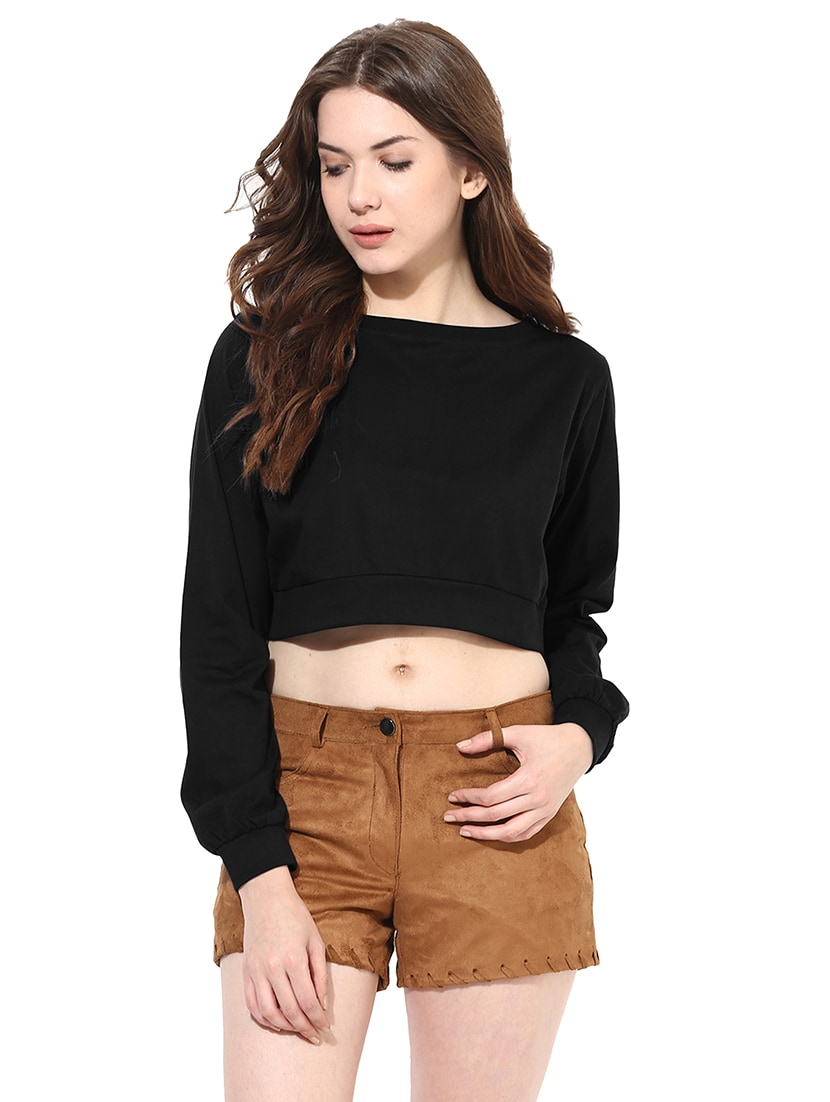 bb252236800d75 Buy Long Sleeved Boat Neck Crop Top for Women from Miss Chase for ₹550 at  31% off