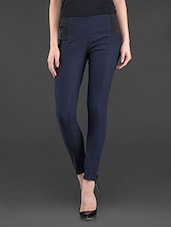 Navy Blue Cotton Lycra Fitted Pants - Hash 69