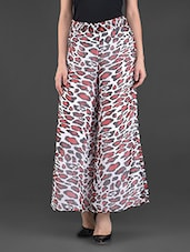 Multicoloured Animal Print Poly Georgette Palazzos - FASHION PLANET