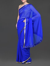 Royal Blue Poly Georgette Saree With Sequined Border - Jindal Saree