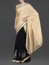 Beige And Black Embroidered Saree - Jindal Saree