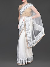 White Net Saree With Embroidered Border - Jindal Saree