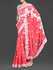Pink Floral Embroidered Poly Georgette Saree - Jindal Saree