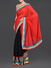 Black And Red Embroidered Saree - Jindal Saree