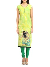 Lime Green Printed Sleeveless Cotton Kurta - Jainish