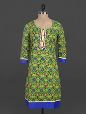 Green Quarter Sleeves Printed Cotton Kurta - Parinita