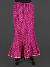 Purple Leheriya Print Cotton Long Skirt - Rangsthali