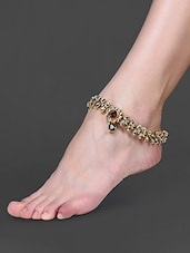 Red & Green Stone Embellished Kundan Anklet - By