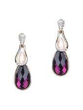 Purple Stone Embellished Earrings - Modish Look