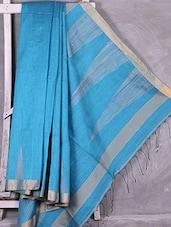 Sky Blue Zari Bordered Handloom Silk Saree - Ruplekha Fashion