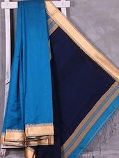 Contrast Navy Blue Pallu Handloom  Cotton Silk Saree - Ruplekha Fashion