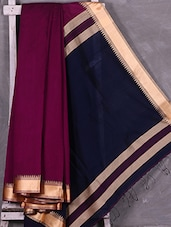 Contrast Navy Blue Pallu Wine Cotton Silk Saree - Ruplekha Fashion