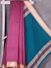 Contrast Blue Pallu Magenta Cotton Silk Saree - Ruplekha Fashion