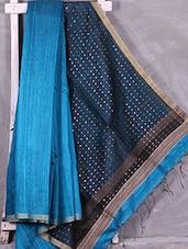 Blue Tussar Silk Saree - Ruplekha Fashion
