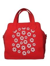 Floral, Cut Work Faux Leather Hand Bag - Moda Desire