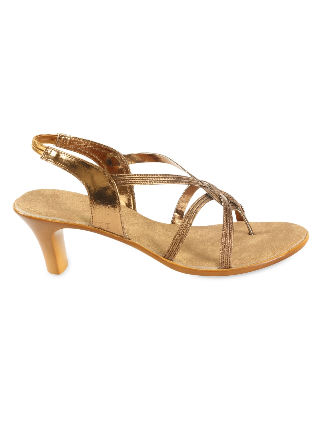 dd8c92b172e Buy Gold Strappy Mid Heel Sandals for Women from Zachho for ₹1199 at 60%  off