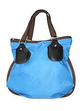 Solid Blue Zipper Closure Handbag - Elligator