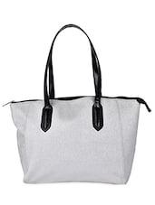 Solid White Leatherette Handbag - AVX