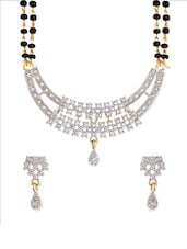 Gold, Black Metal Alloy, American Diamonds Ethnic Mangalsutra Set - By