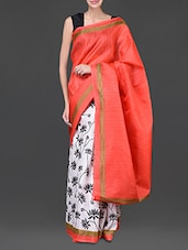 White And Red Floral Printed Silk Saree - Designerz Hub
