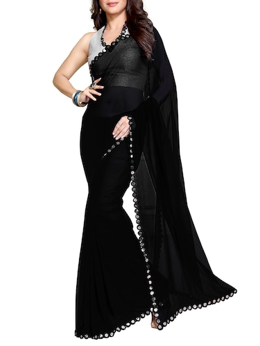 black faux georgette bordered saree with blouse - 11049493 - Standard Image - 1