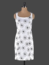 Monochrome Floral Print Dress - Muse Couture