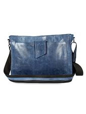 Navy Blue Genuine Leather Sling Bag - Hibiscus