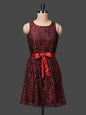 Maroon Floral Lace Dress - The Vanca