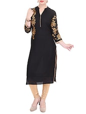 Black Rayon Embroidered Regular Kurta - By