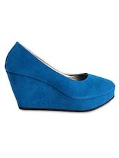 Round Toe Blue Suede Wedges - Fleetz