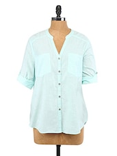 Mint Green Button Down Roll-up Sleeves Shirt - Lemon Chillo