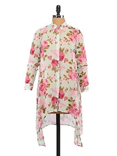 Rose Printed Asymmetric Dress - Lemon Chillo