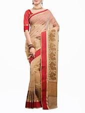 Printed Cotton Net Saree With Blouse Pcs - Rupdarshi