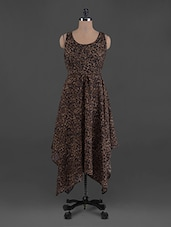 Leopard Print Round Neck Flared Georgette Dress - G&M Collections