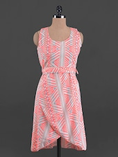 Overlapping Printed Round Neck Crepe Dress - G&M Collections