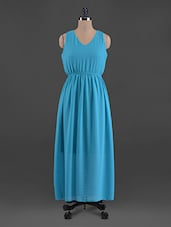 Plain Solid V Neck Georgette Maxi Dress - G&M Collections