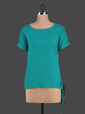 Solid Green Side Tie-up Rayon Top - Pannkh