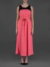 Sleeveless Colour Block Maxi Dress - Eyelet