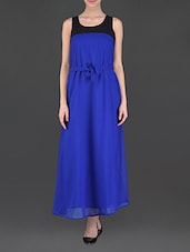 Blue Sleeveless Maxi Dress - Eyelet