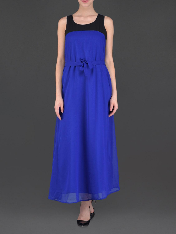 Blue Sleeveless Maxi Dress - Eyelet