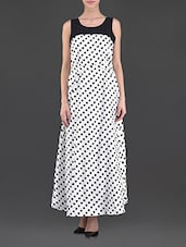 Monochrome Polka Dot Maxi Dress - Eyelet