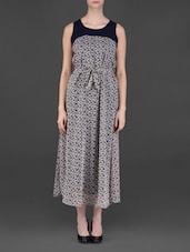 Round Neck Printed Maxi Dress - Eyelet