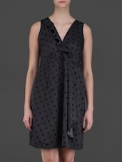 Overlap Neck Polka Dot Dress - Eyelet