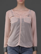 Long Sleeves Sheer Top - Eyelet