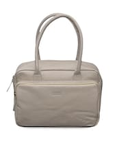 Stylish Cream Leather Handbag - Le Craf