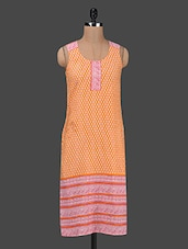 Orange Printed Sleeveless Cotton Kurta - Ruhaan's