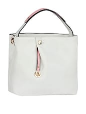 Plain Solid White Leatherette Handbag - Mod'acc
